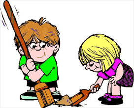 Kids doing family chores