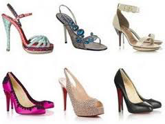 An assortment of styles of high heel shoes