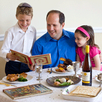 Father at home with kids at the Pesach table