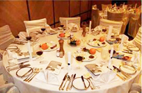 Passover Seder table in a hotel